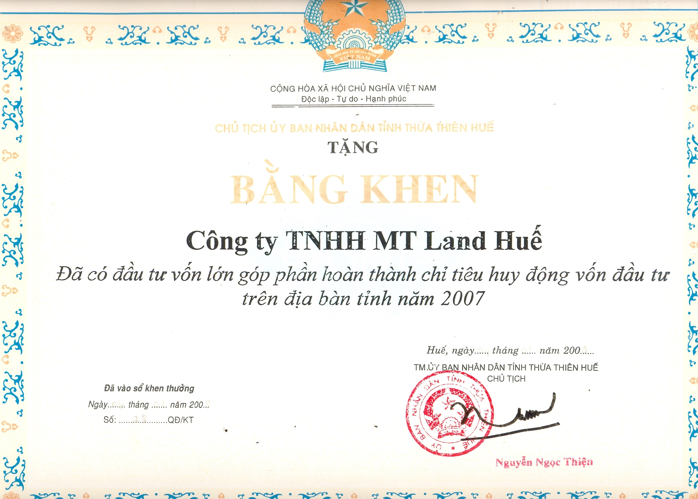 cong ty tnhh mt land hue 2008